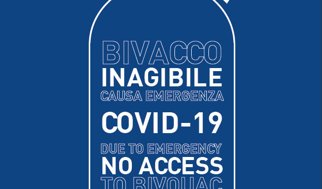 EMERGENZA COVID19  – INAGIBILITA' BIVACCHI  – Cartello  informativo